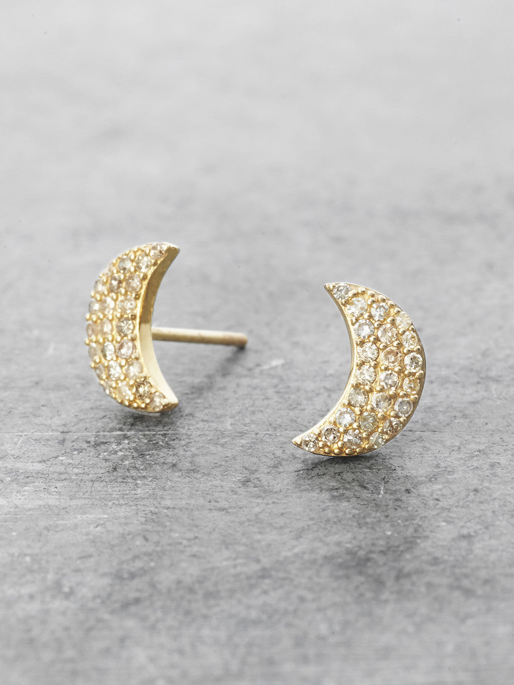 14K Pave Diamond Crescent Moon Posts