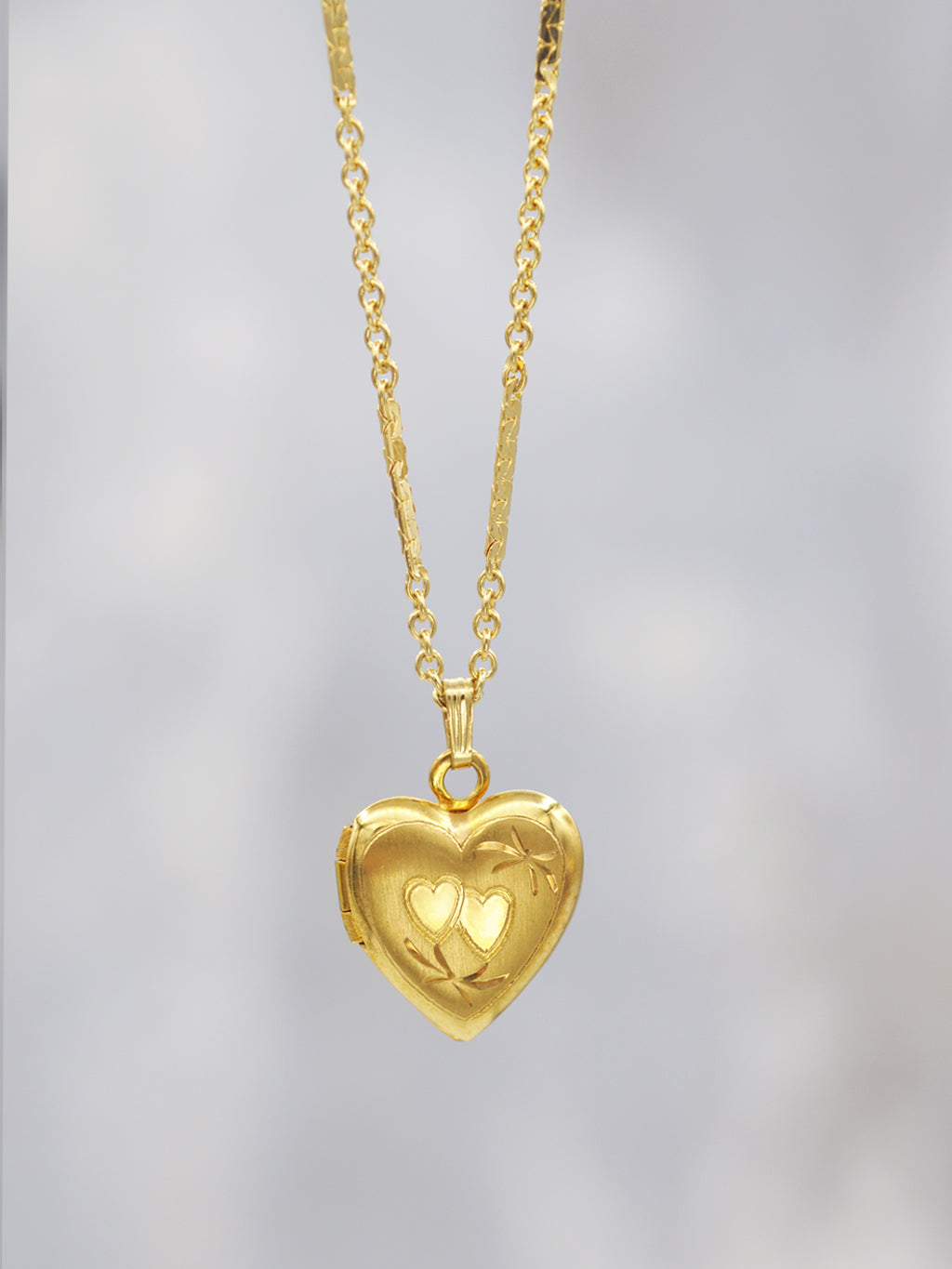 14K Goldfill Double Heart Locket
