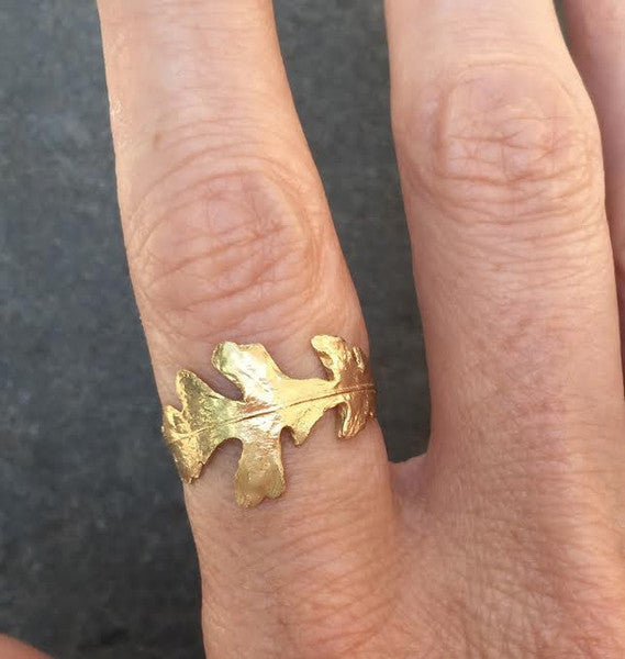 Mighty Oak Leaf Ring - Gold
