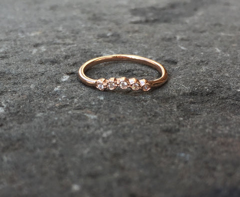Domed Daisy Diamond Stacking Rings
