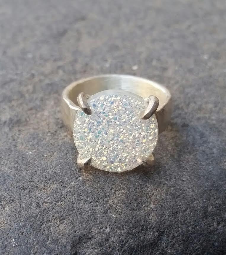 Claw set white druzy ring