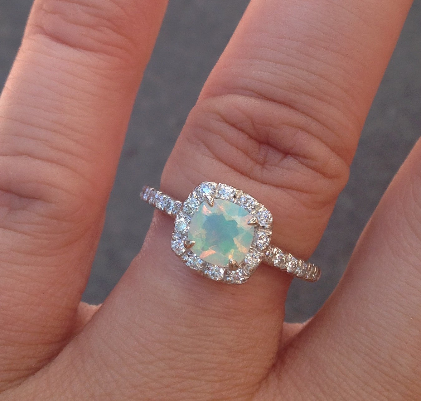 Heavenly Opal Halo Ring- on hand