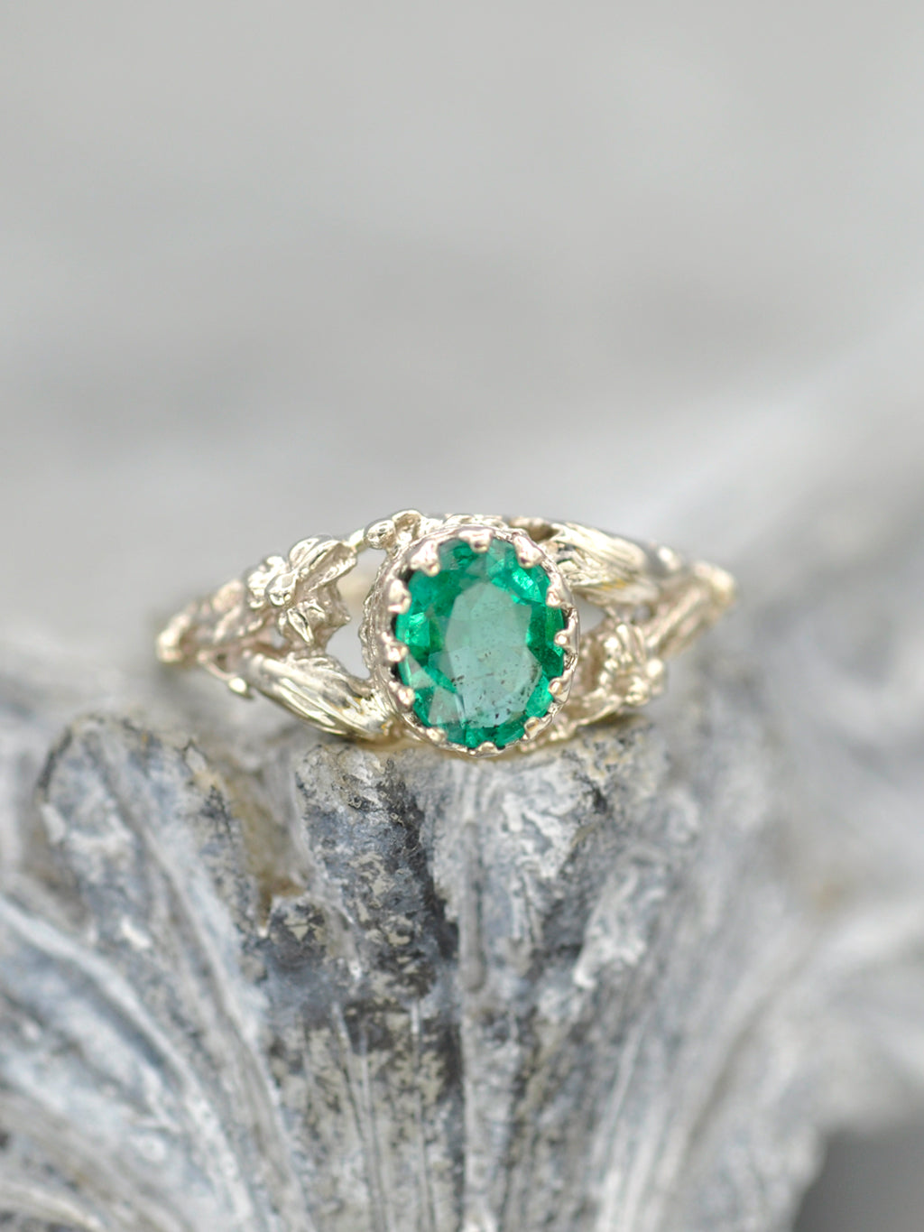 14K Earthly Emerald Garden Ring - White Gold