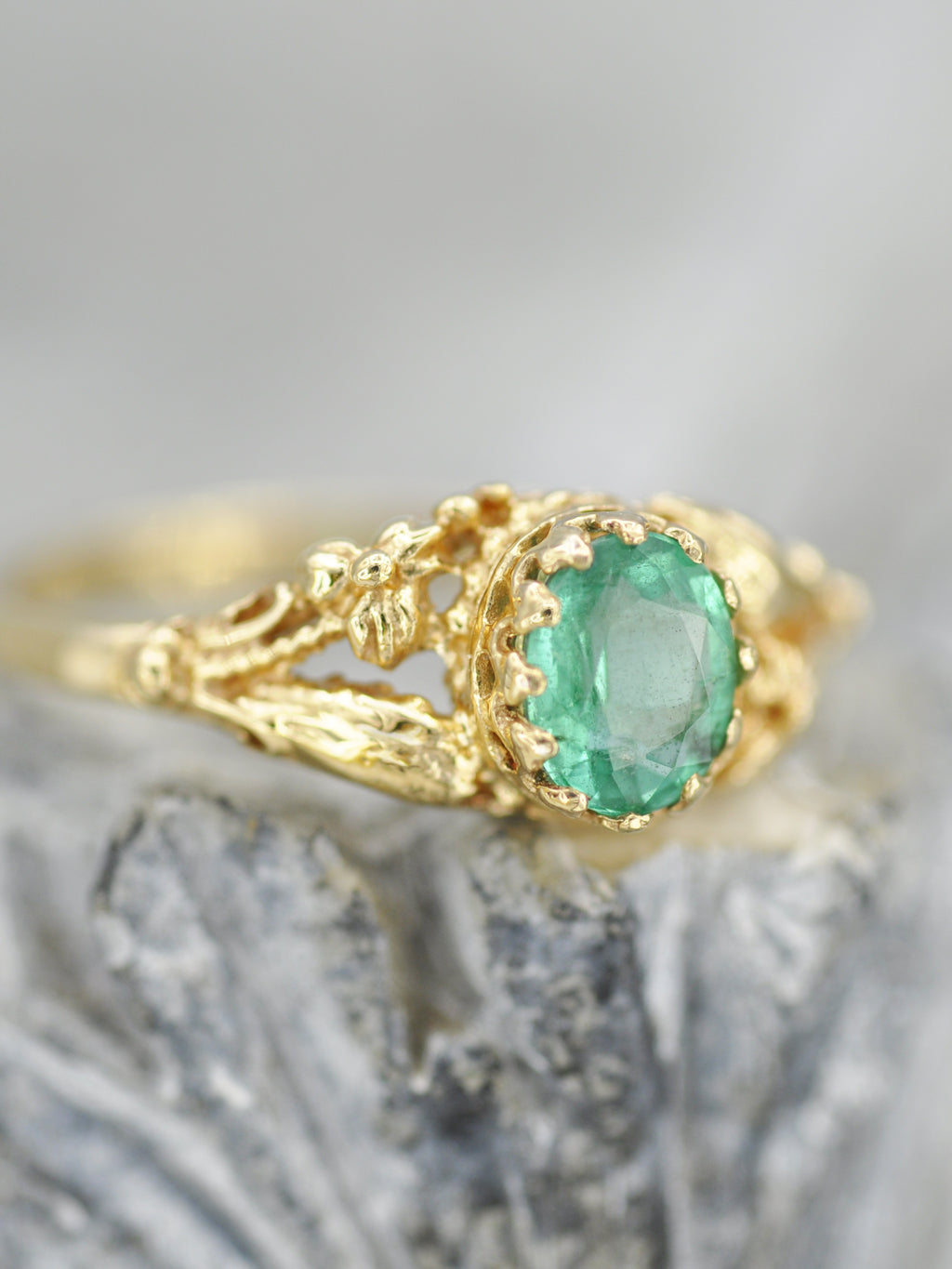 14K Earthly Emerald Garden Ring