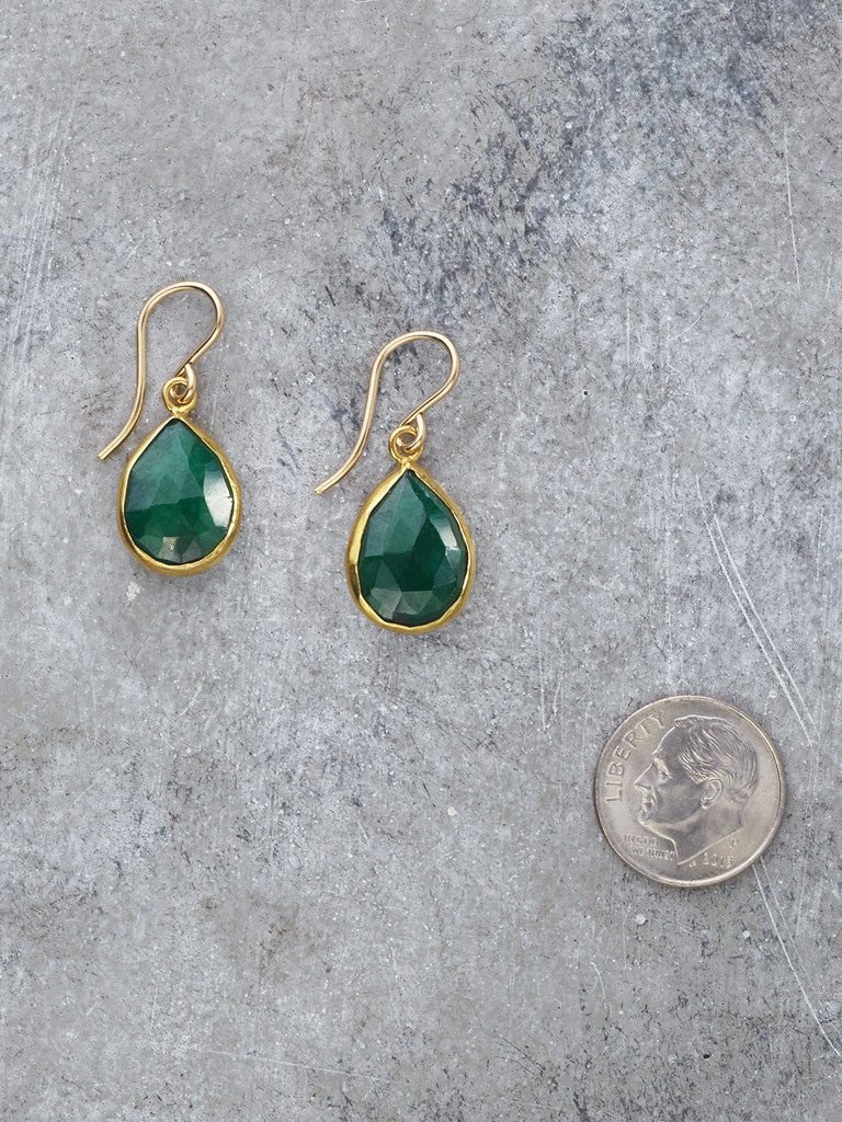 Framed Emerald Teardrop Earrings