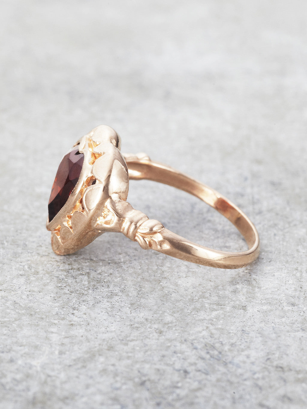 14K Rose Gold & Garnet Emma Heart Ring