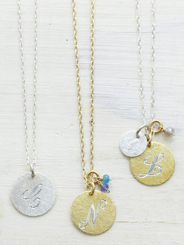 Large Engraved Textured Initial Disk Charms - LUNESSA