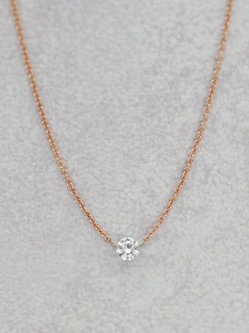 14K Floating Diamond Necklace .15 CT