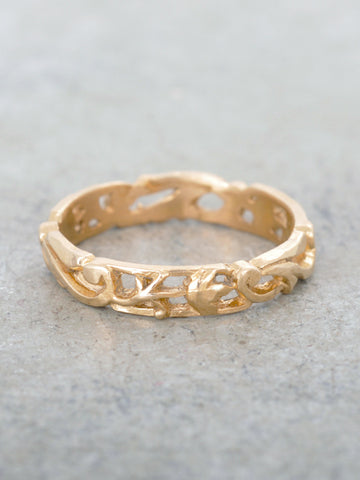 14K Floral Flourish Wedding Band