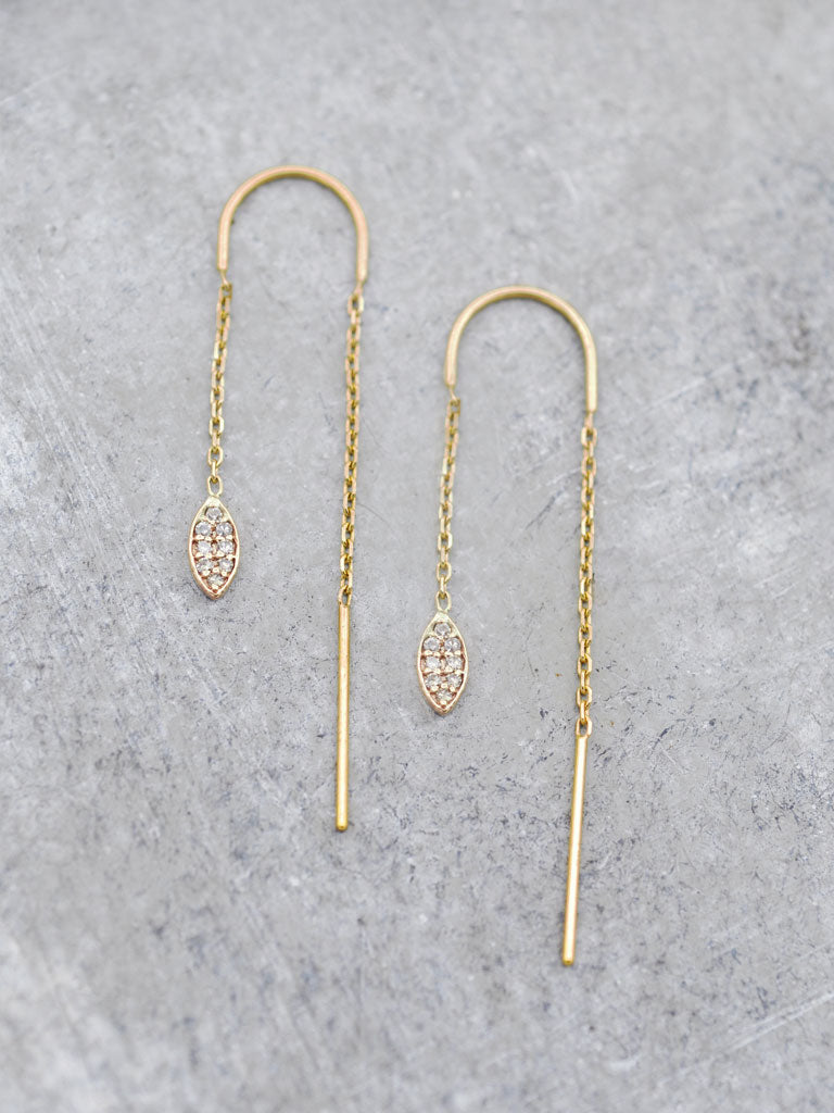 14K Pave Diamond Marquis Threader Earrings
