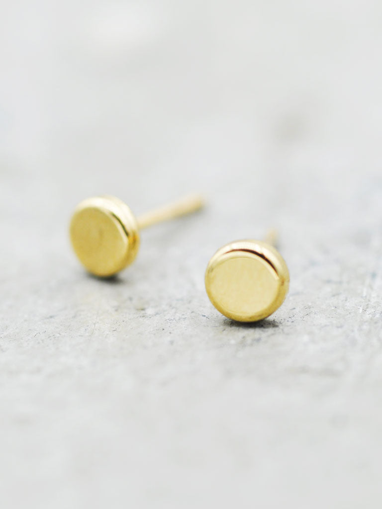 14K Gold Petite Flat Disk Posts - 4.5mm