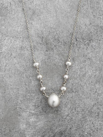 Georgia Freshwater Pearl Teardrop Necklace - White Pearls