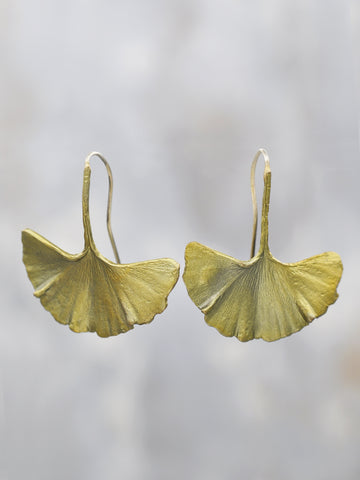 Bronze Ginkgo Leaf Earrings