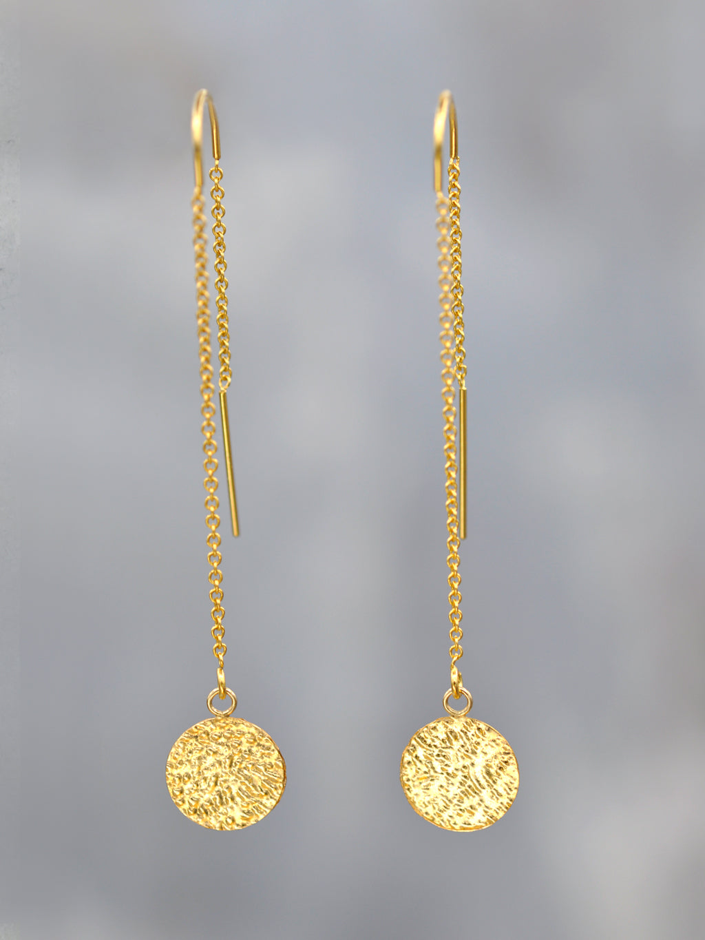Textured Gold Disk Threader Earrings
