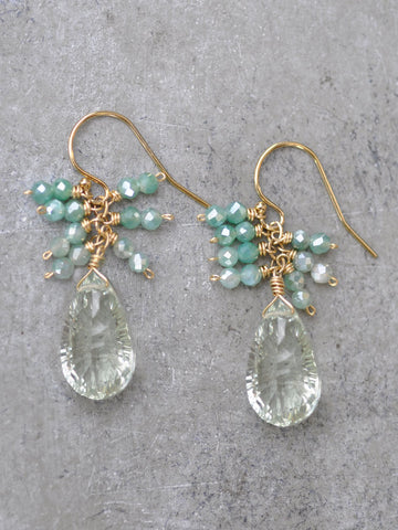 Fancy Green Amethyst Cluster Earrings