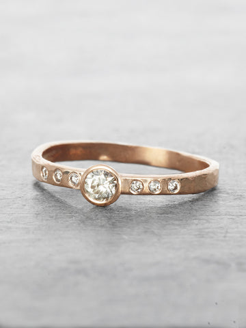 Hammered Diamond Solitaire Ring
