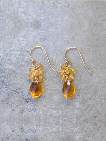 Honey Drop Citrine Cluster Earrings