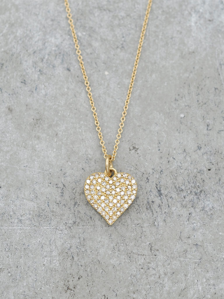 14K 12mm Pave Diamond Heart Necklace