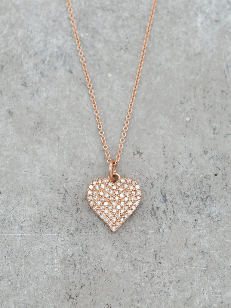 12.5mm Pave Diamond Heart Necklace