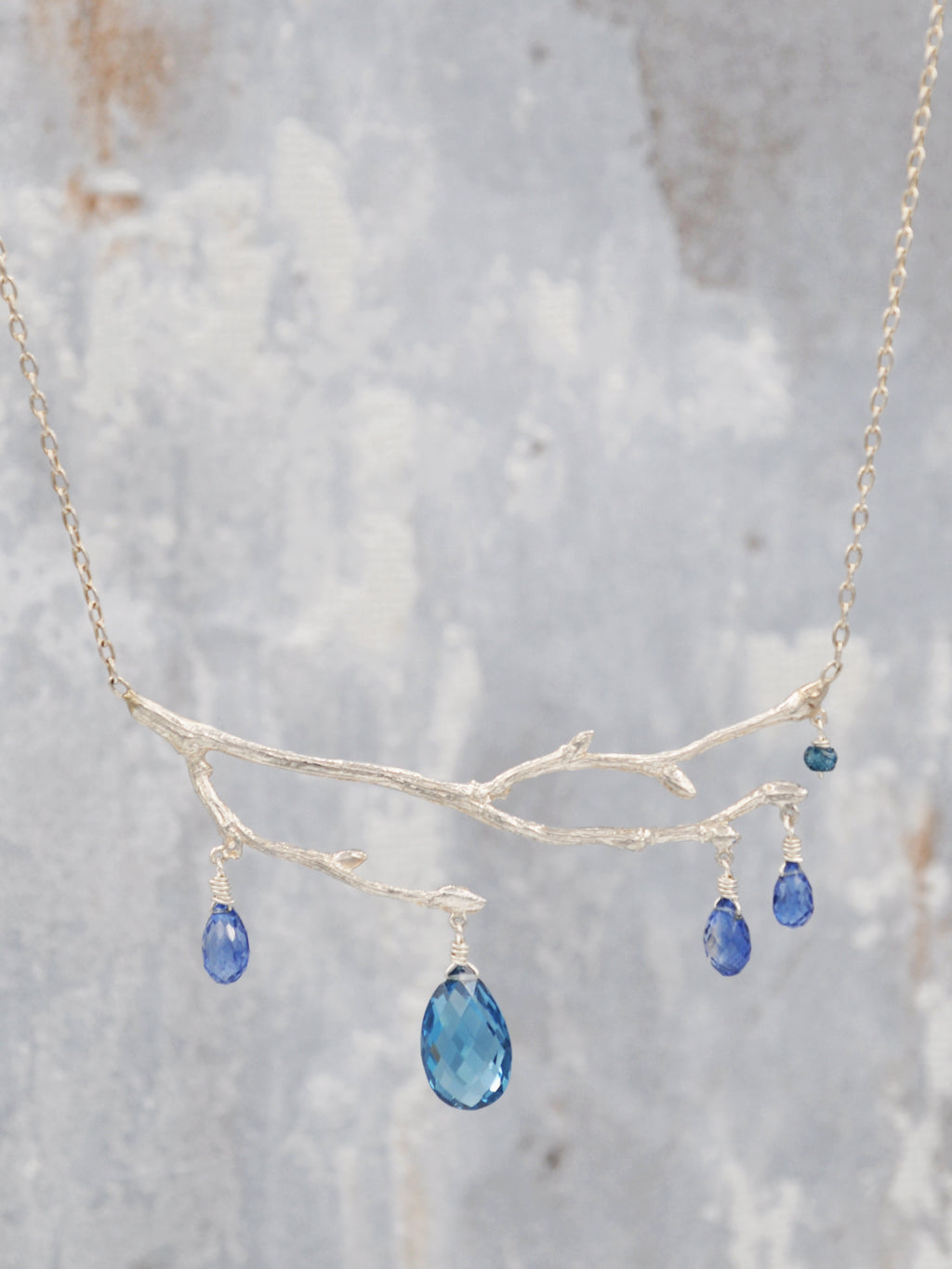 Enchanted London Blue Topaz and Kyanite Fairy Branch Necklace