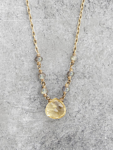 Lemondrop Citrine & Labradorite Drop Necklace