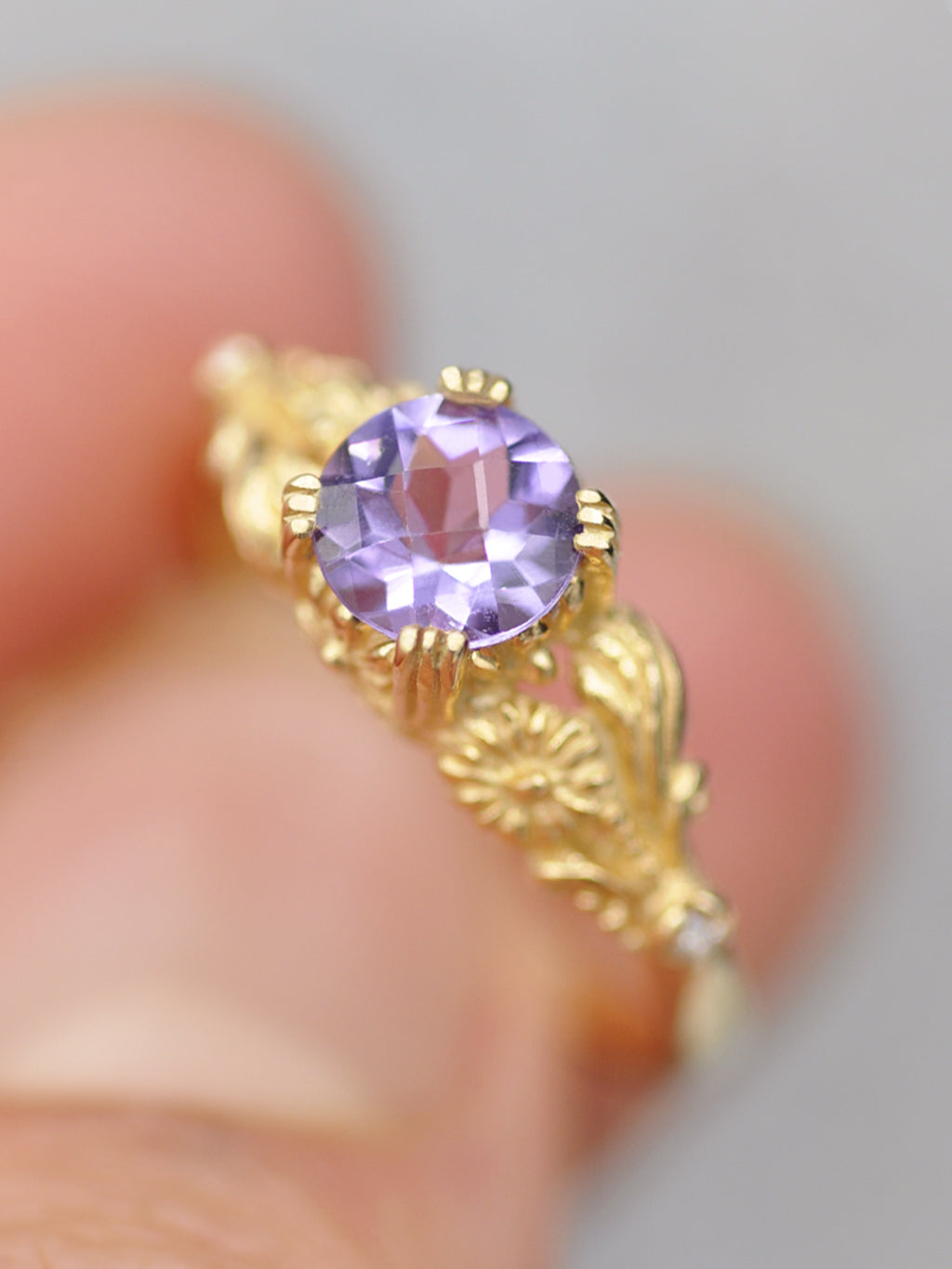 14K Enchanted Blossom Ring - Amethyst