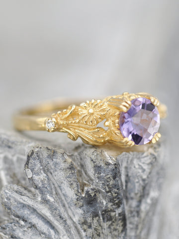 14K Enchanted Blossom Ring - Amethyst + Diamond