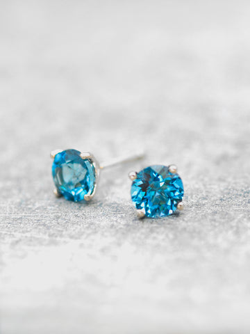 14K London Blue Topaz Post Earrings - 6mm