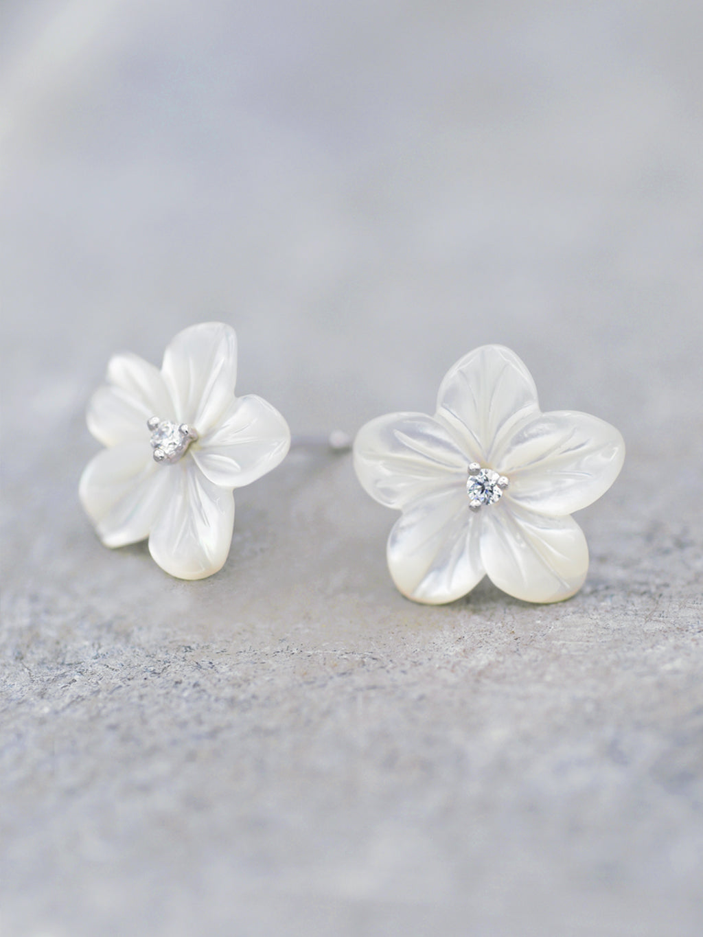 Mother of Pearl + CZ Flower Posts