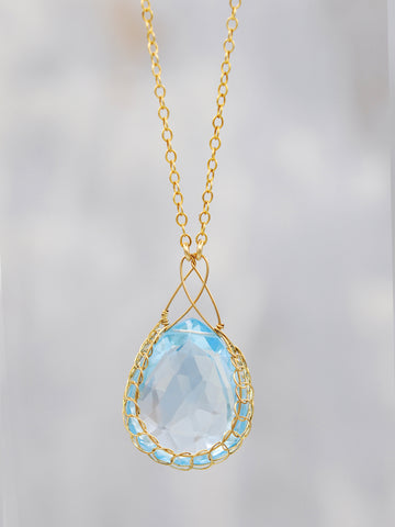 Swiss Blue Topaz Basket Necklace