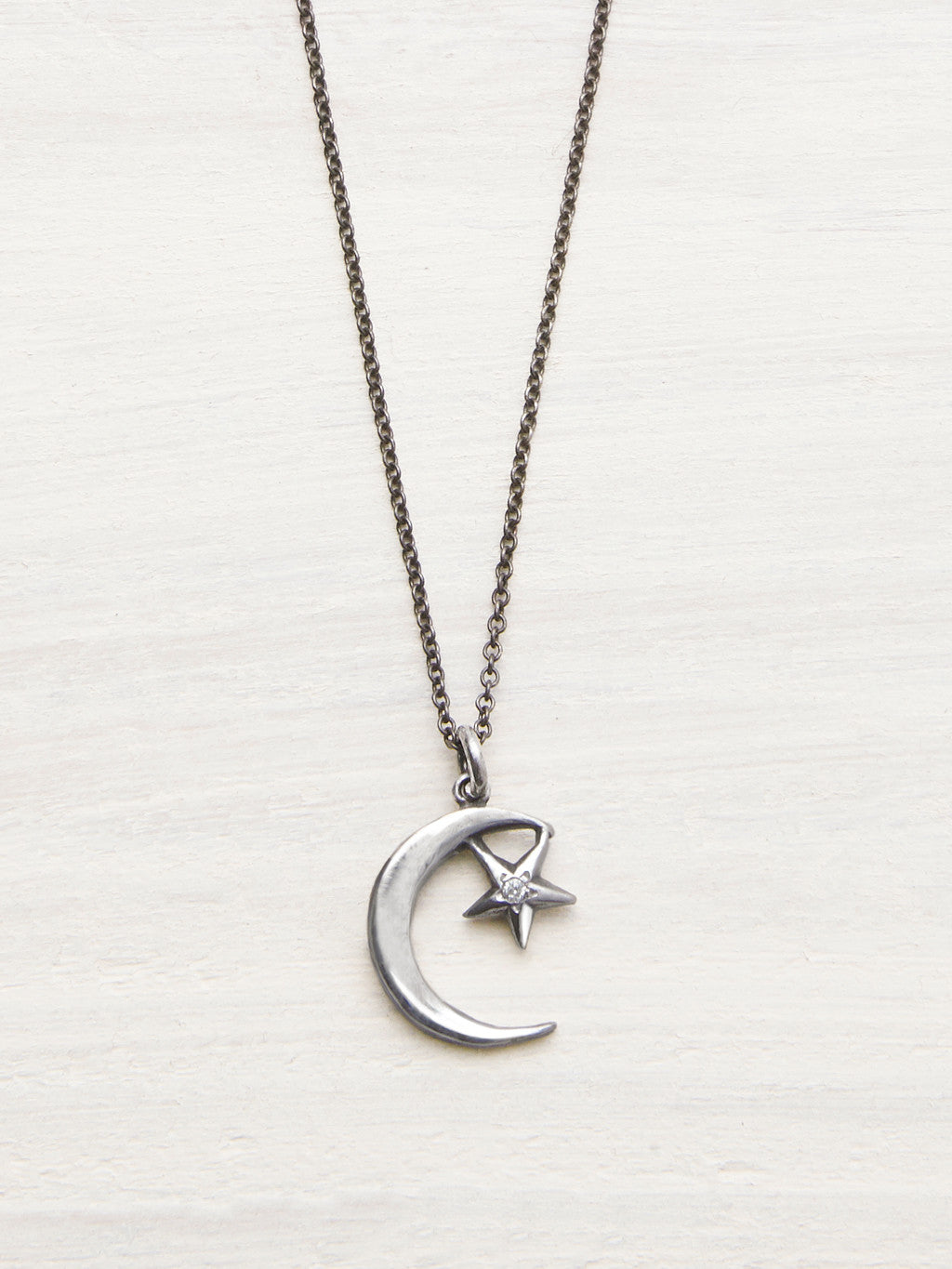 Moon & Star Diamond Necklace - LUNESSA
