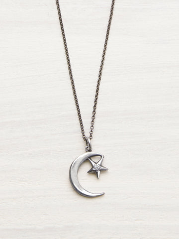 Moon & Star Diamond Necklace