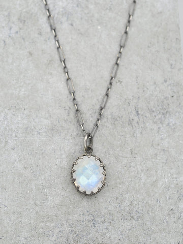 Antiqued Rainbow Moonstone Crown Necklace