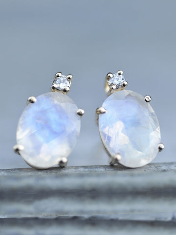 14K Moonstone & Diamond Posts