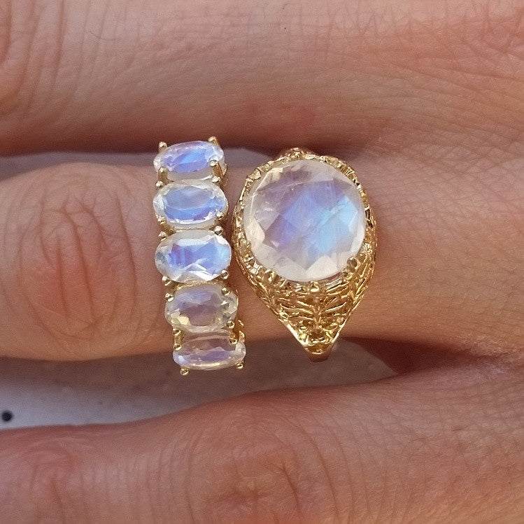 14K Mystic Moonstone Portal Ring
