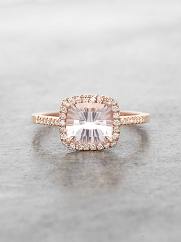 Morganite & Diamond Halo Ring