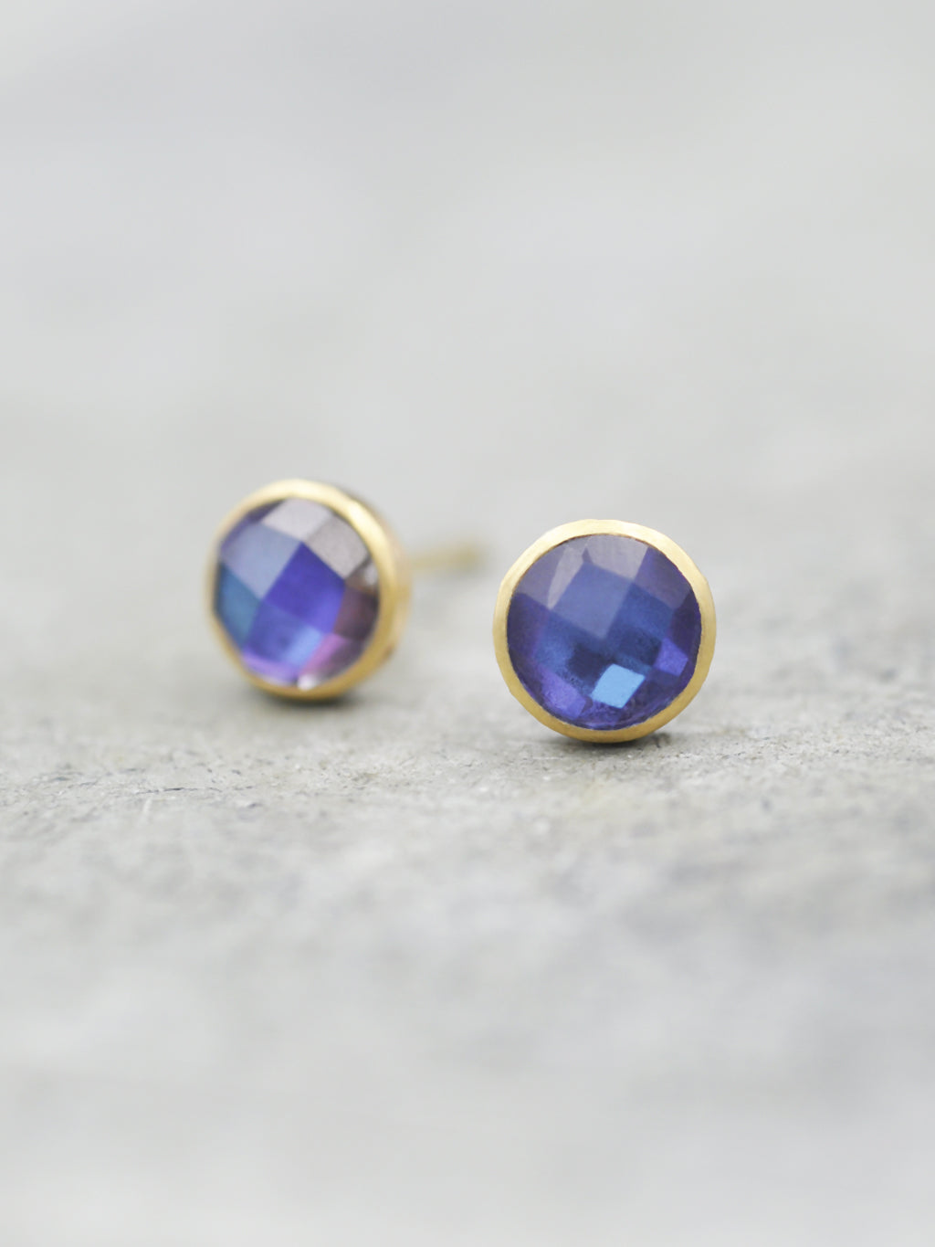14K Mystic Blue Topaz Bezel Post Earrings