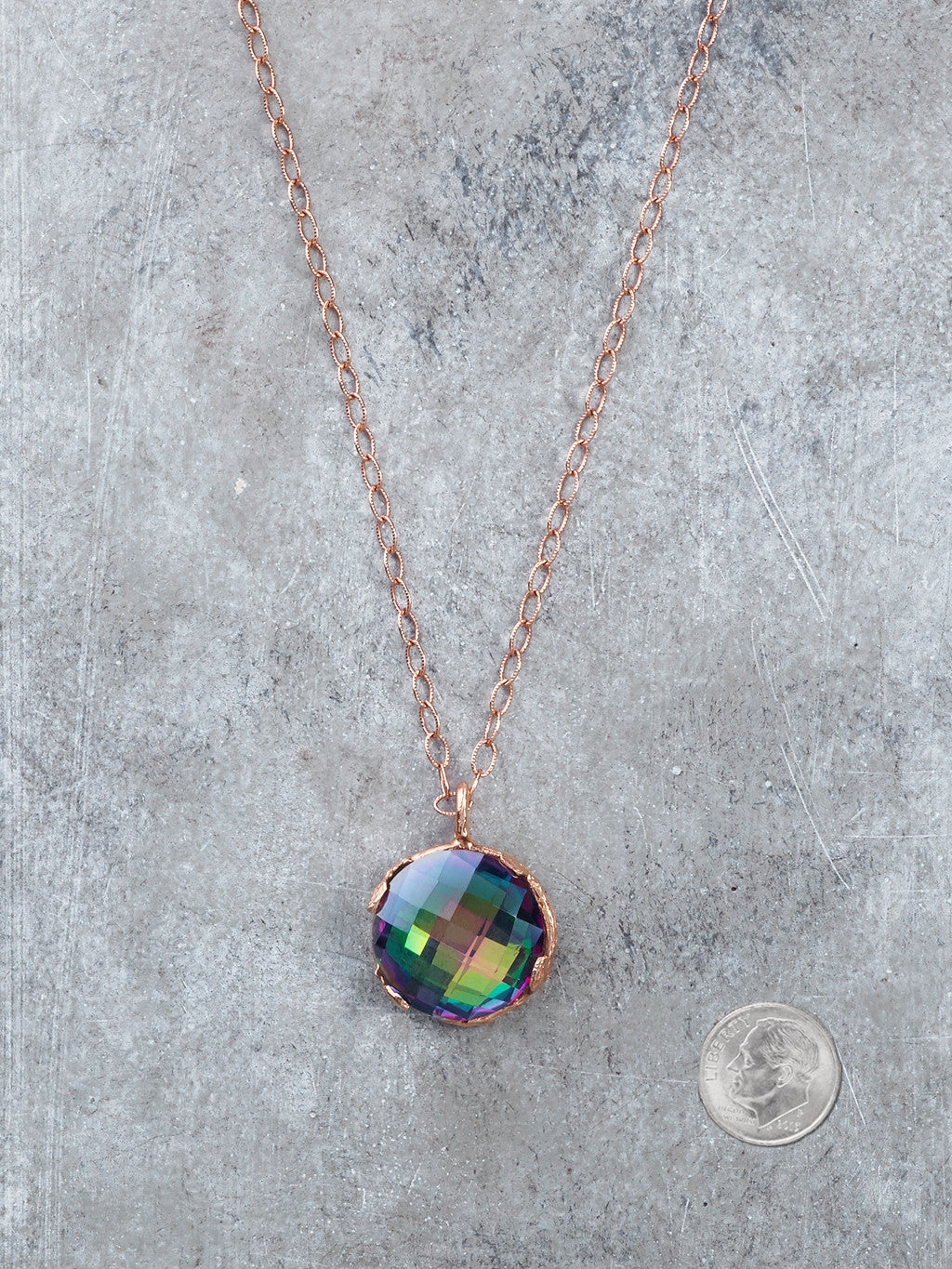 Mystic Topaz Disco Necklace to scale
