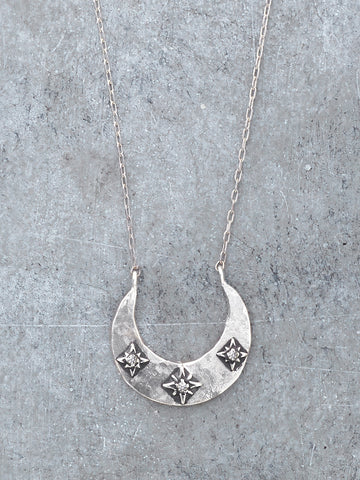 Diamond Stars Crescent Moon Necklace