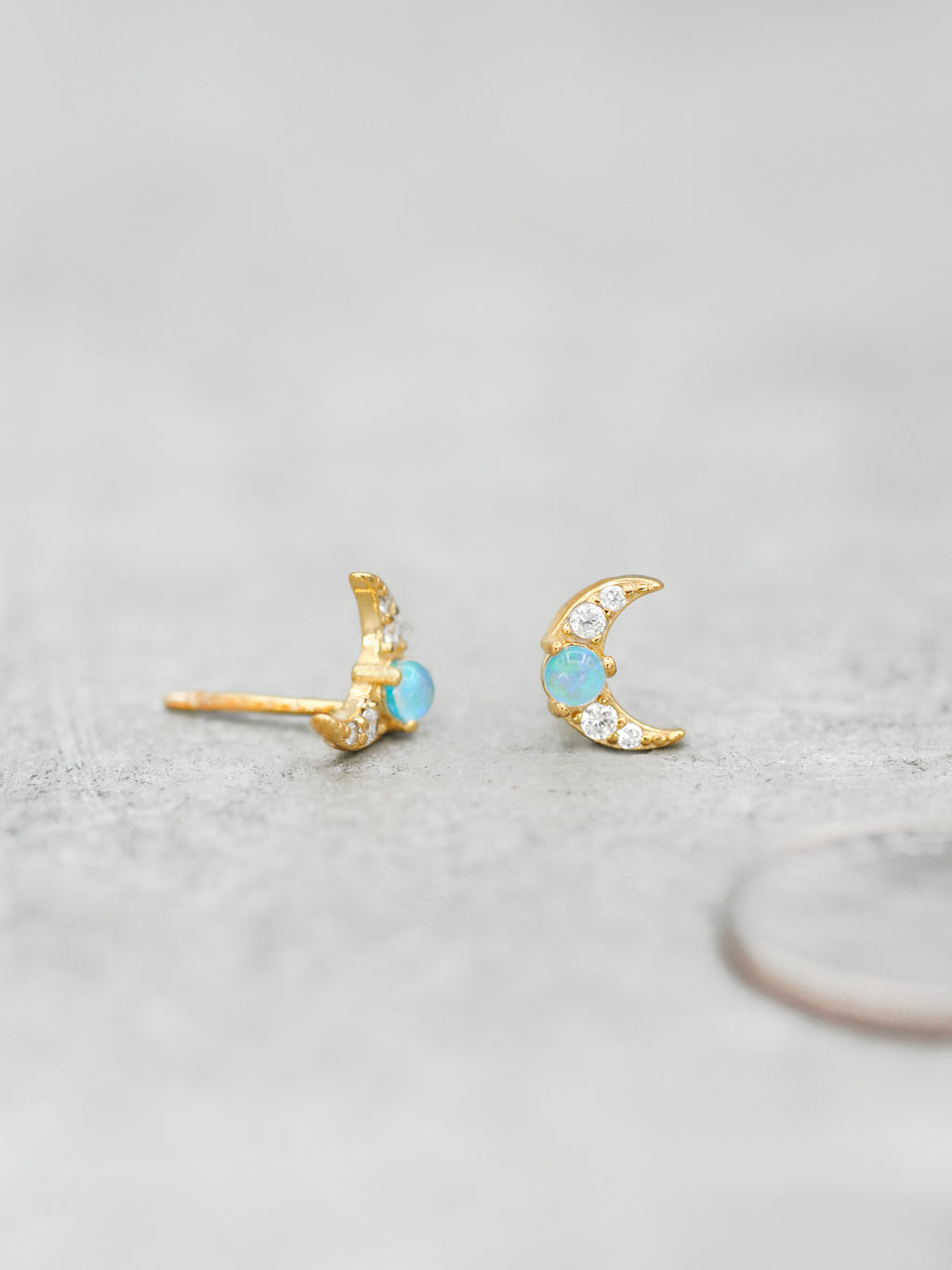 Opal & Cubic Zirconia Crescent Moon Post Earrings