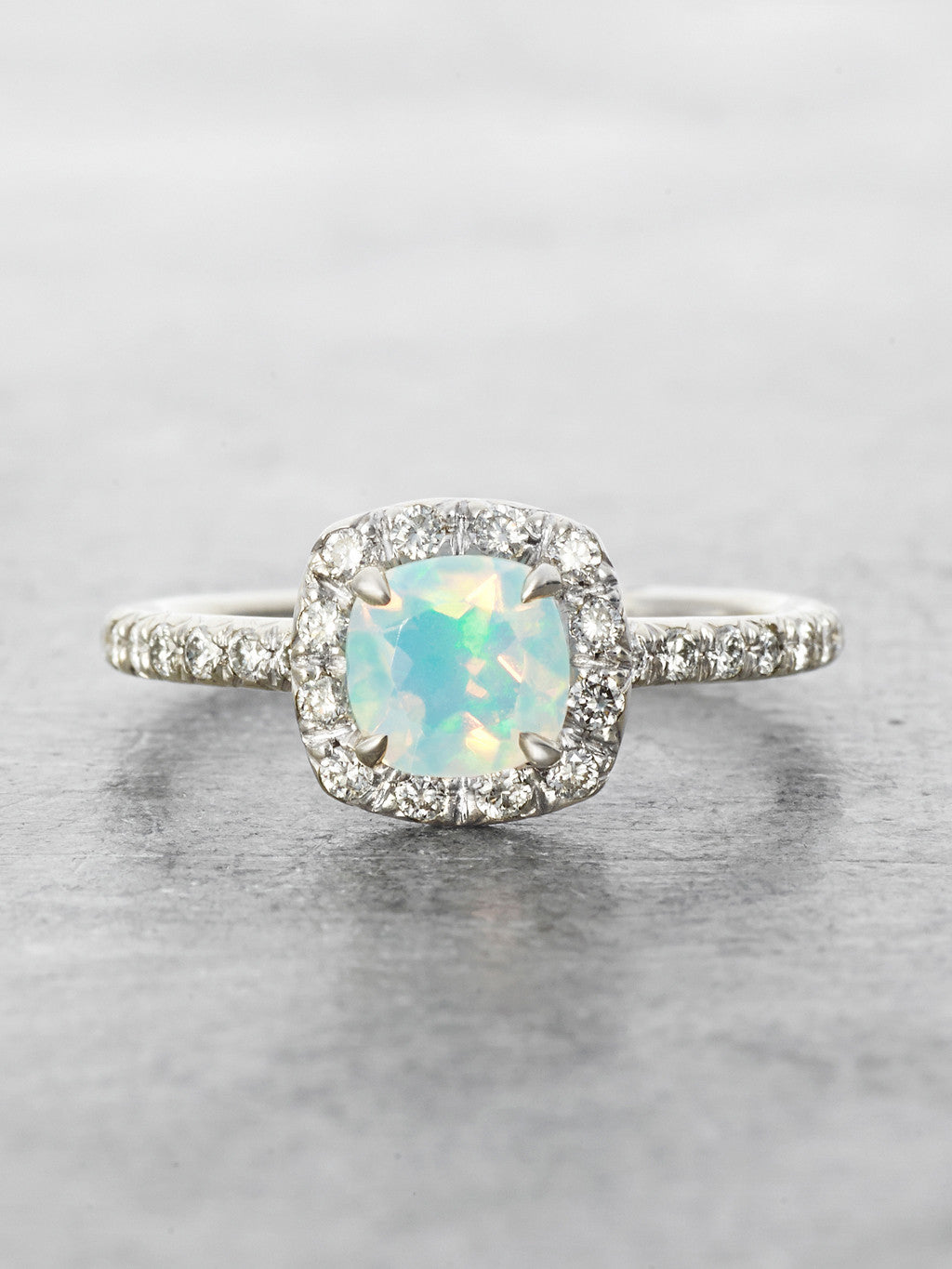 Heavenly Opal Halo Ring front view
