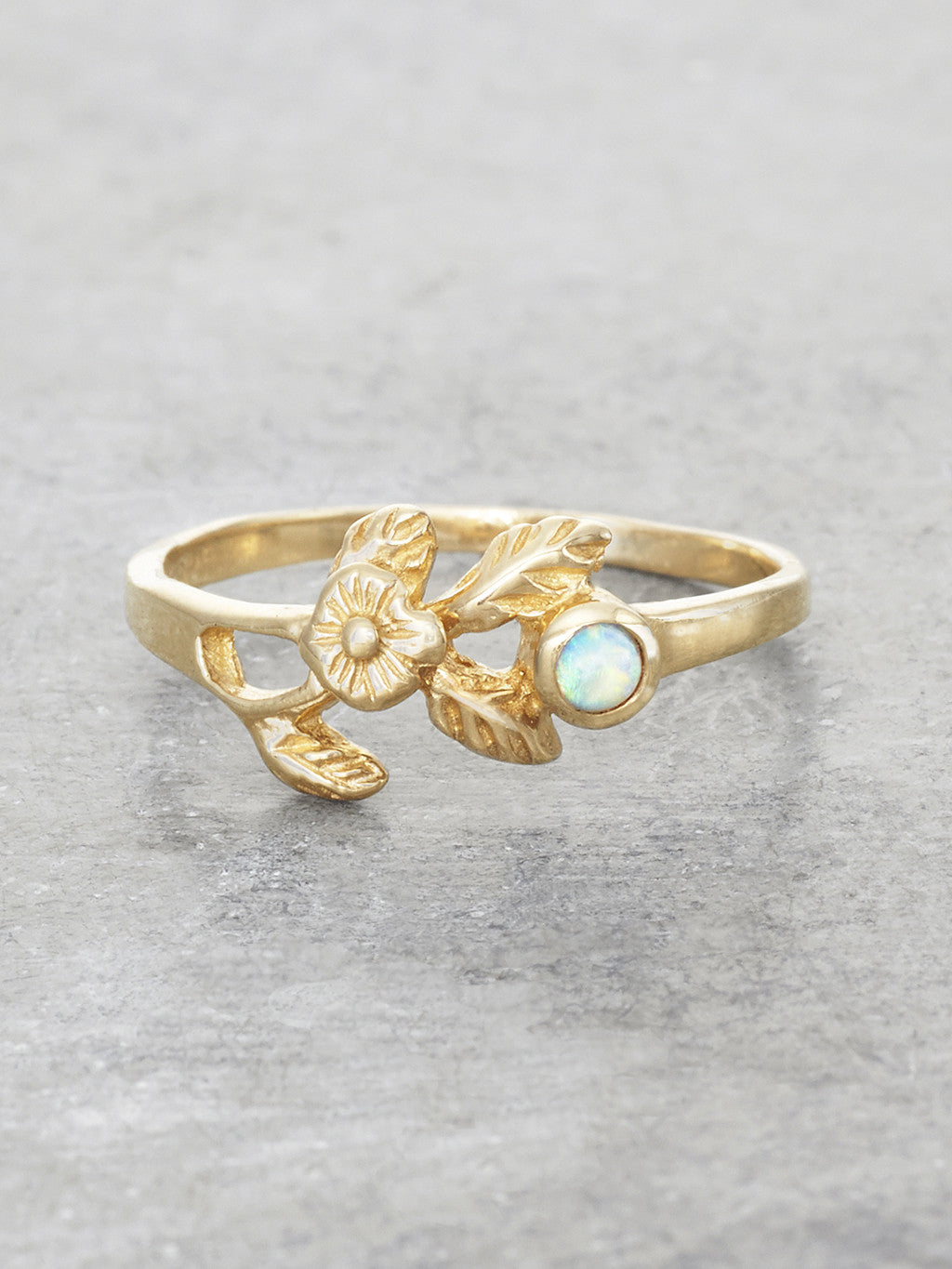 14K Gold Opal Kiss Ring