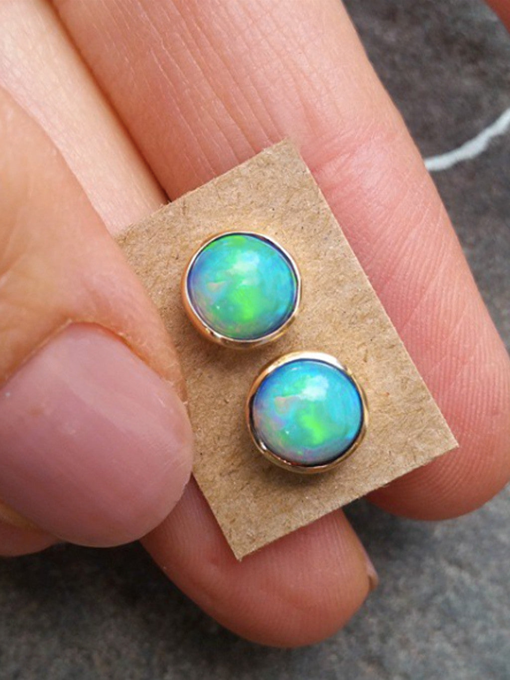 14K Framed Opal Posts