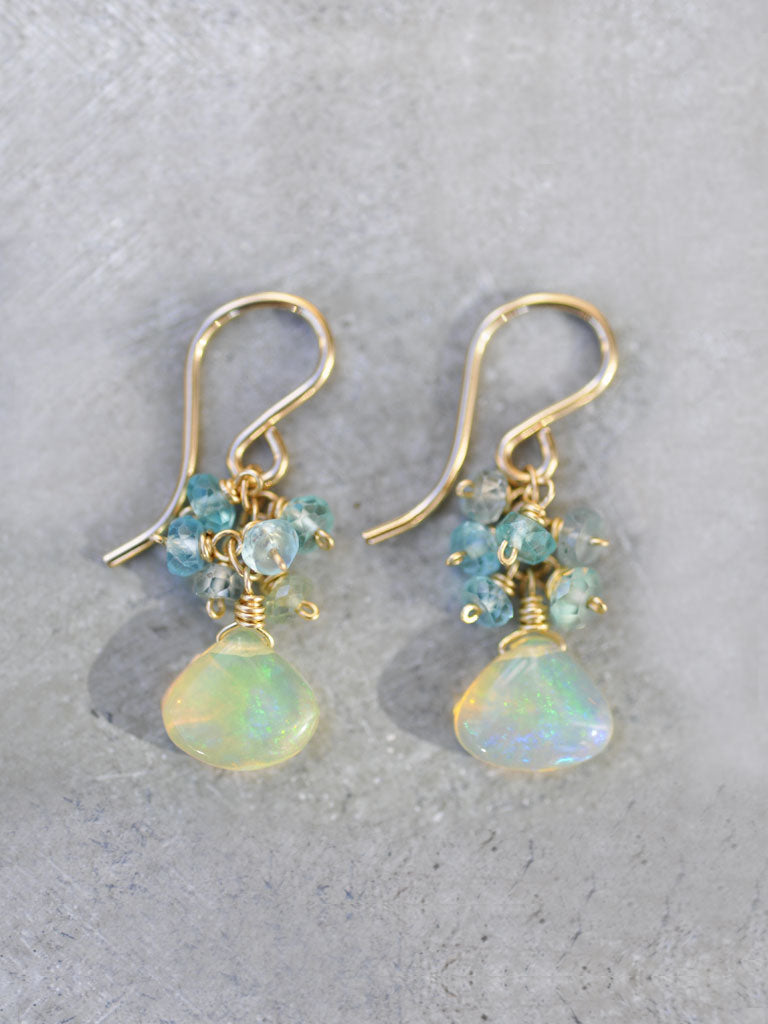 Ethereal Opal Cluster Earrings