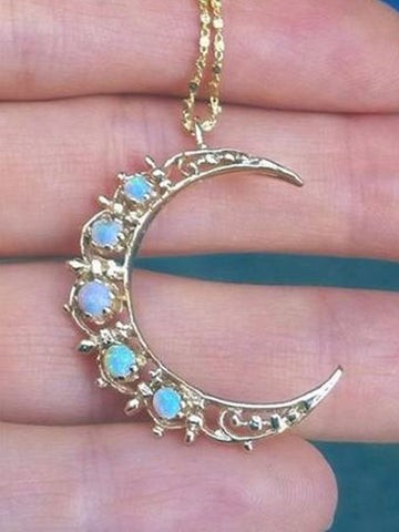 14K Antique Opal Crescent Moon Necklace