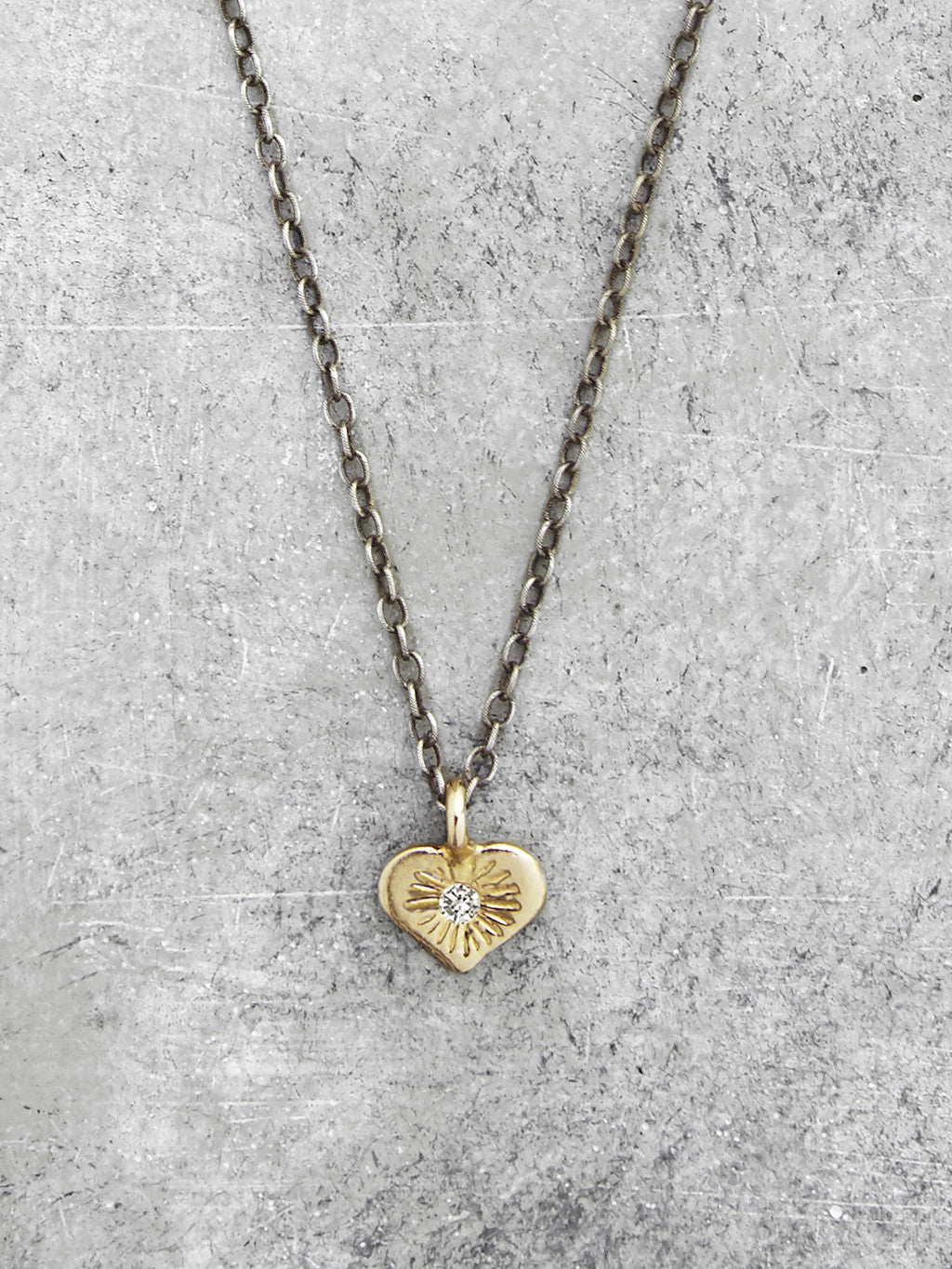 Open Hearted Diamond Necklace- Yellow Gold