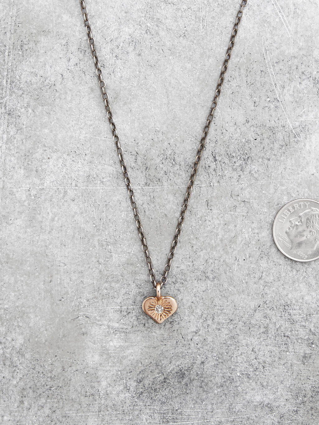 Open Hearted Diamond Necklace - Rose Gold - full view