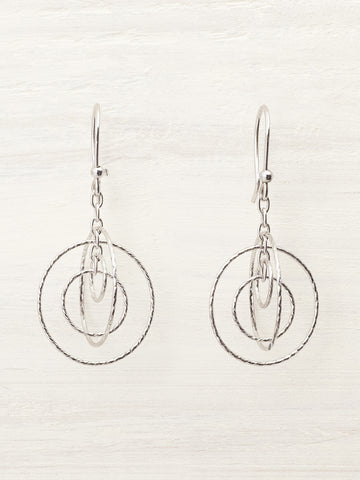 Silver Cosmic Orbiting Hoops Round