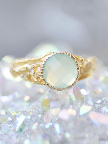 Peruvian Calcite & Diamond Ophelia Flower Ring