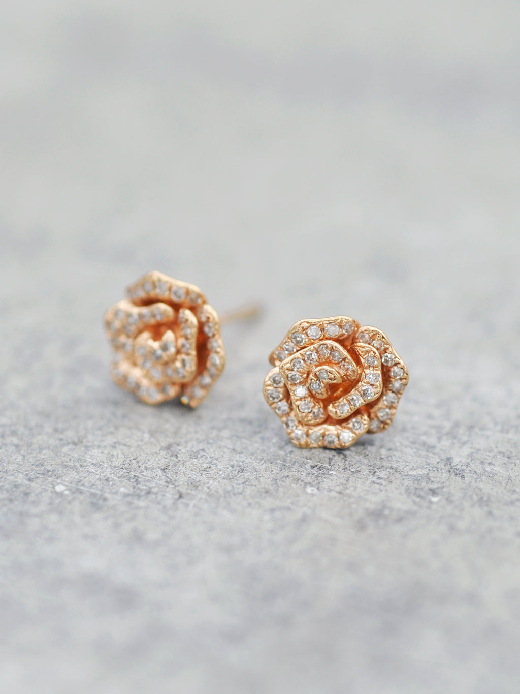 14K Blossoming Diamond Rose Posts